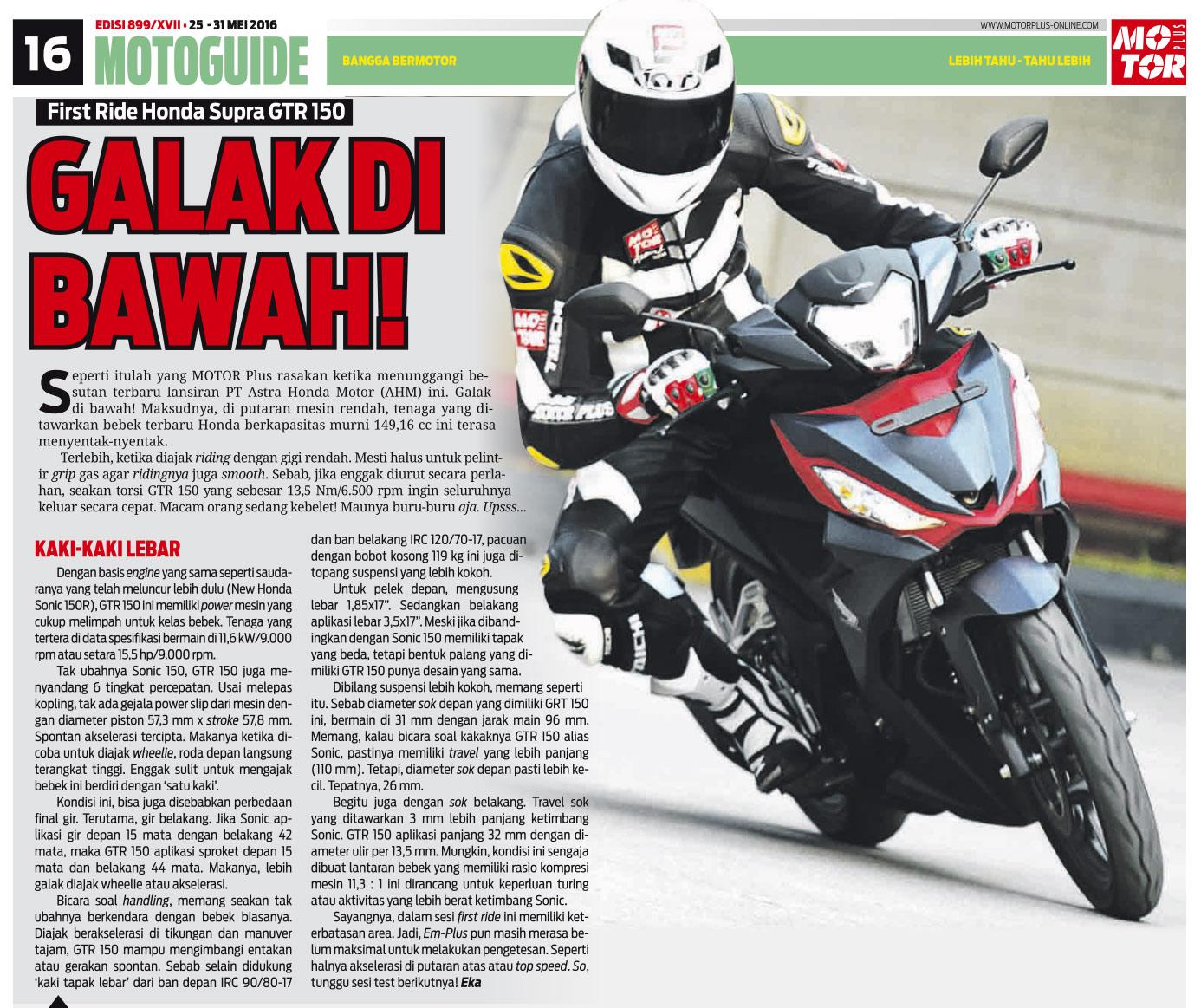 Honda Supra GTR 150 Galak Di RPM Bawah Menurut MotorPlus Motorpacu